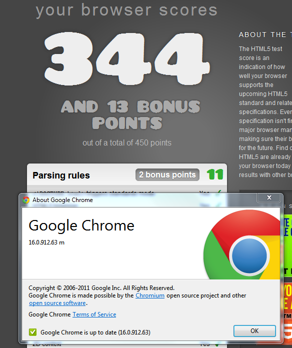 Chrome 16 Html5Test Score
