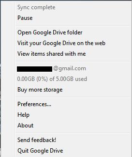 Google Drive System Tray Menu