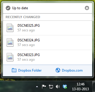 Dropbox 2.0 desktop menu