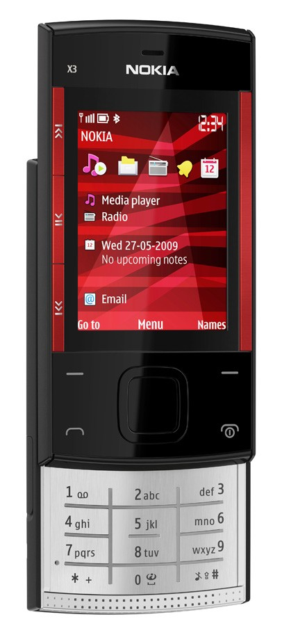 nokia x3 black red front left view