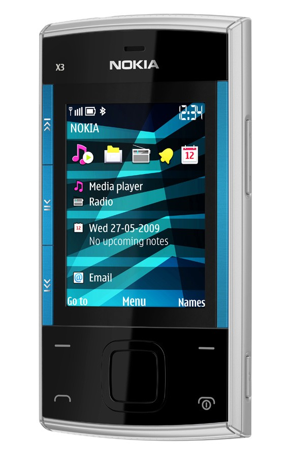 nokia x3 blue silver front right
